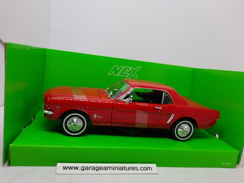FORD MUSTANG COUPE ROUGE 1964 WELLY ECHELLE AU 1/24 EME