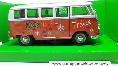 VOLKSWAGEN BUS T1 PEACE AND LOVE WELLY ECHELLE AU 1/24 EME